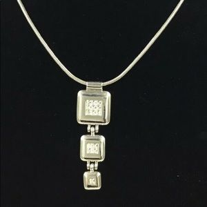 David Grau Silver Tone Crystal Pendant Necklace